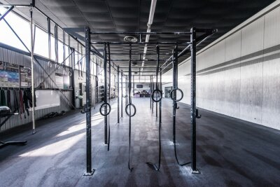 Sticker straight view crossfit gym with sun