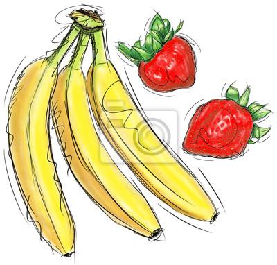 Sticker Strawberries and bananas