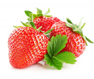 Sticker strawberries isolated on the white background