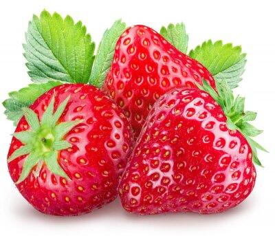 Sticker Strawberries on the white background.