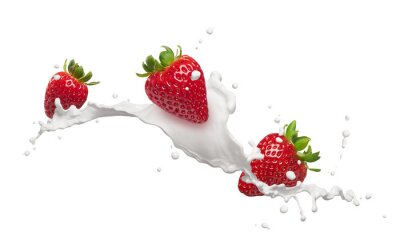 Sticker strawberries with milk splash