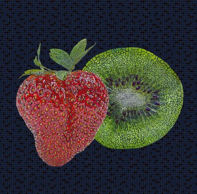 Sticker Strawberry and kiwi illustration