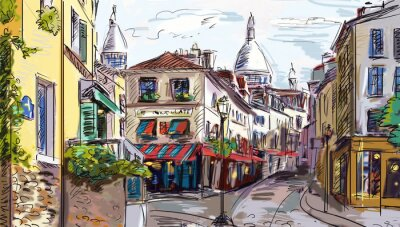 Sticker Street in paris - illustration