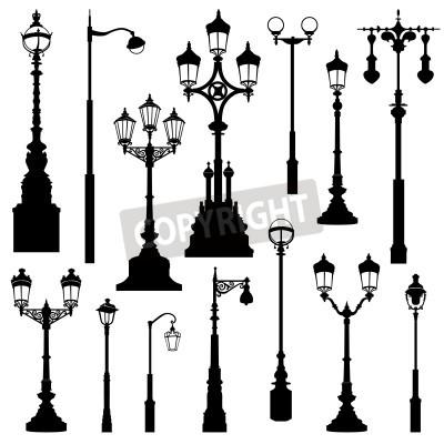 Sticker Street lamp set. Street lights retro collection.