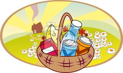 Stylized food basket on background with country landscape