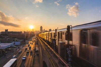 Sticker Subway Train in New York at Sunset