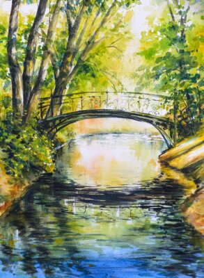 Sticker  Summer landscape with bridge over river in park.Picture created with watercolors.