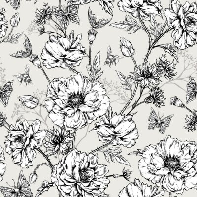 Sticker Summer Monochrome Vintage Floral Seamless Pattern with Blooming