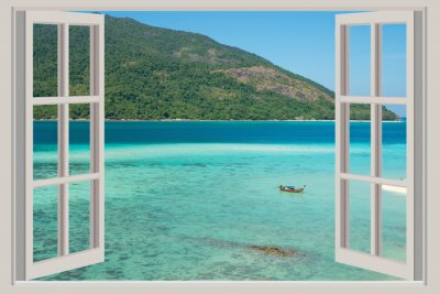 Sticker Summer, Travel, Vacation and Holiday concept - The open window,