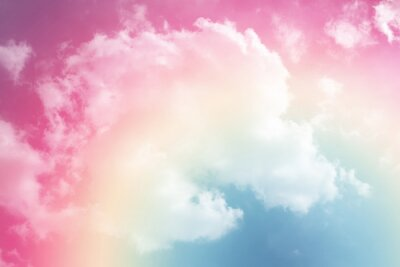 Sticker sun and cloud background with a pastel colored