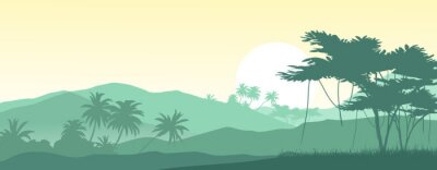 Sticker Sunrise in the tropical mountains. Vector illustration.