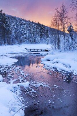 Sticker Sunrise over a river in winter near Levi, Finnish Lapland