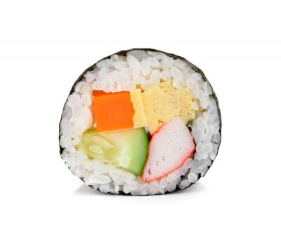 Sticker sushi roll isolated on white.