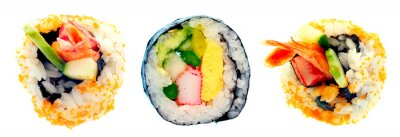Sticker Sushi roll with rice isolated on white background