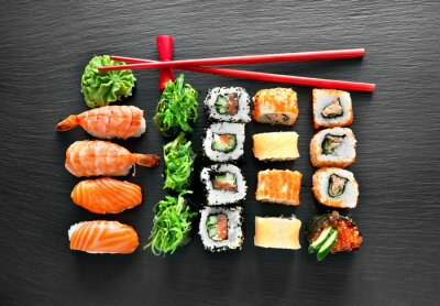 Sticker Sushi set and chopsticks