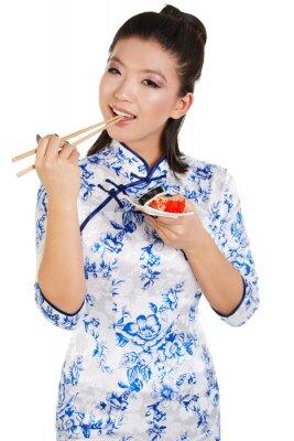 Sticker Sushi woman holding sushi with chopsticks