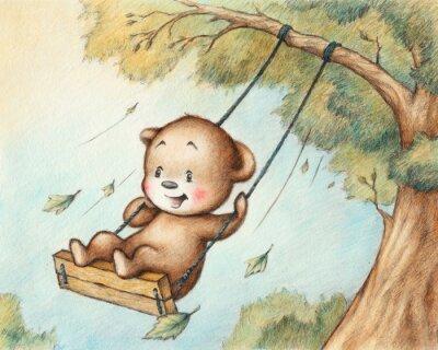 Sticker Swinging Teddy Bear
