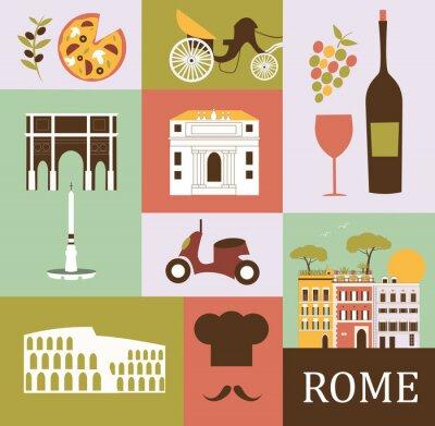 Sticker Symbols of Rome. Vector