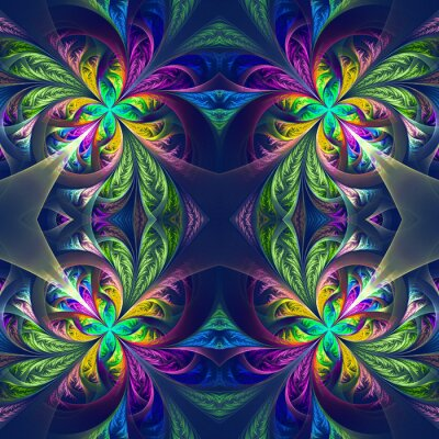 Sticker Symmetric multicolored fractal tracery. Collection - frosty patt