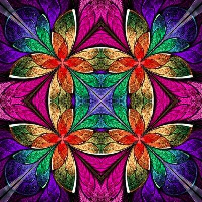 Sticker Symmetrical multicolored pattern in stained-glass window style.