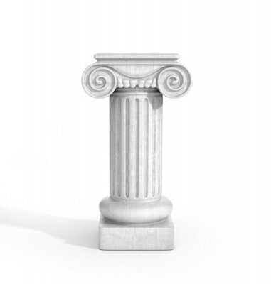 Sticker Tall Doric Column Pillar Isolated on White Background. Pedestal.