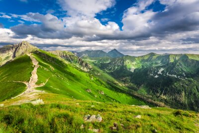 Sticker Tatra Mountains peaks in sunny day