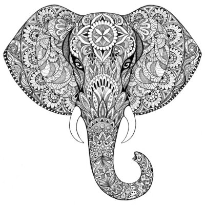 Sticker Tattoo elephant with patterns and ornaments