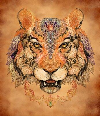 Sticker Tattoo, graphics head of a tiger