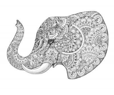 Sticker Tattoo profile elephant with patterns and ornaments