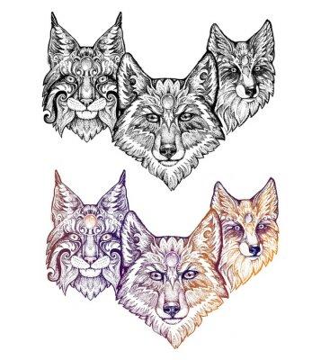 Sticker Tattoo. Wolf, lynx, and fox