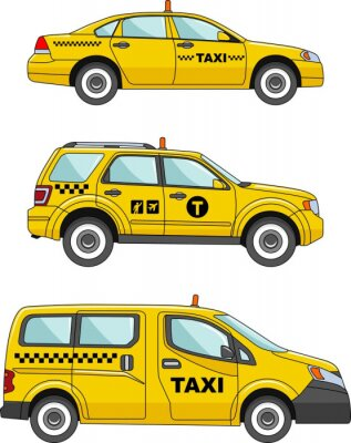 Sticker Taxi car on a white background in a flat style
