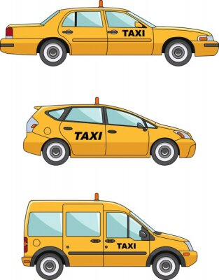 Sticker Taxi car on a white background in flat style