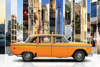 Sticker Taxi, retro car orange color on the white background