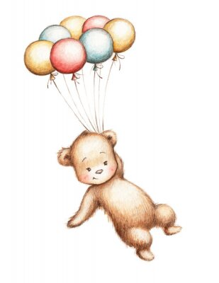 Sticker Teddy Bear with Balloons