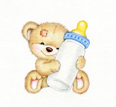 Sticker Teddy bear with bottle of milk