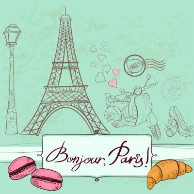 Sticker Template with Paris symbols