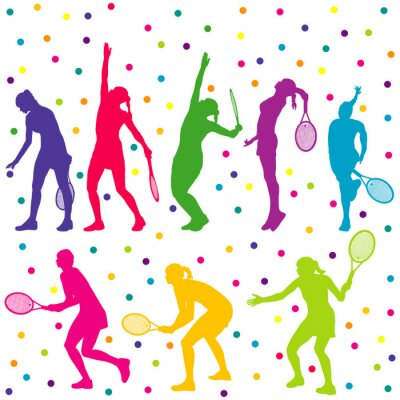 Sticker Tennis players silhouette collection