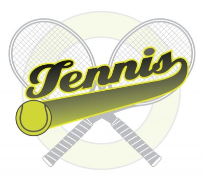 Sticker Tennis With Tail Banner is an illustration of a tennis design with the word tennis with a tail banner for your own text, tennis ball and tennis racquets.
