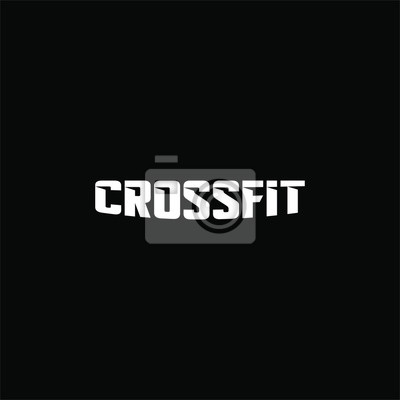 Sticker Text crossfit logotype template isolated on black background