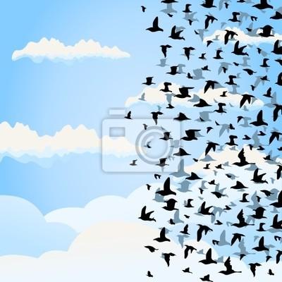 The big flight of birds flies. A vector illustration