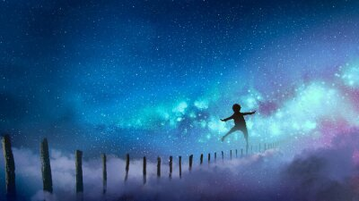 Sticker the boy balancing on wood sticks against the Milky Way with many stars, digital art style, illustration painting