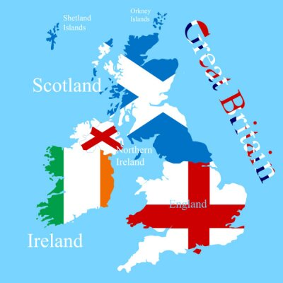 Sticker The Great Britain map for each country flag