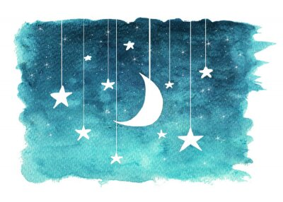 Sticker The moon and stars hanging from strings painted in watercolor on white isolated background, night sky background