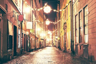 Sticker The night street in Gamla Stan, Stockholm.