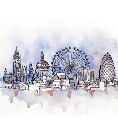 Sticker the  panoramic view of London watercolor of european union country isolated on the white background