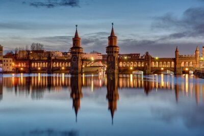 Sticker The River Spree and the Oberbaumbruecke in Berlin at dawn