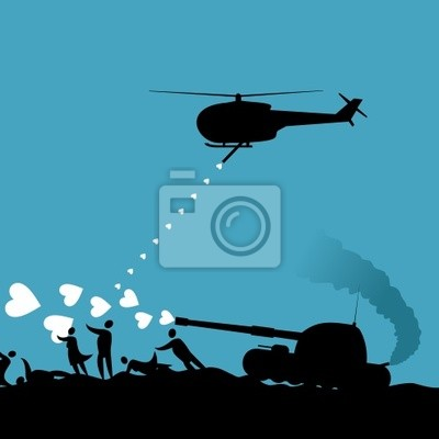 The tank and the helicopter shoot heart at people