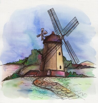 Sticker the watercolor hand drawn windmill in Holland