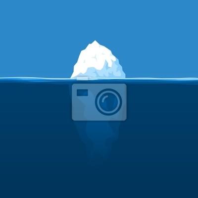 The white iceberg floats at ocean