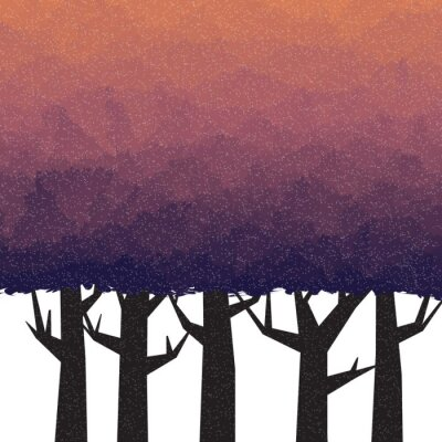 Sticker Thick forest in twilight time